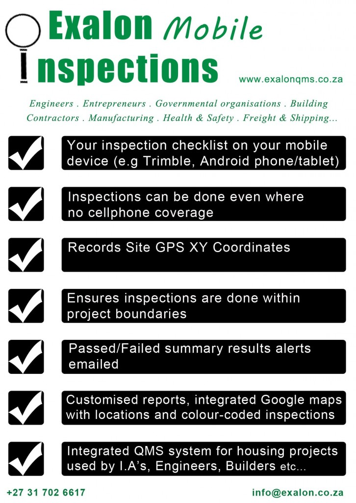 Exalon mobile inspections for android devices