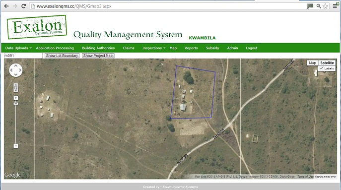Site boundaries on Exalon QMS web interface